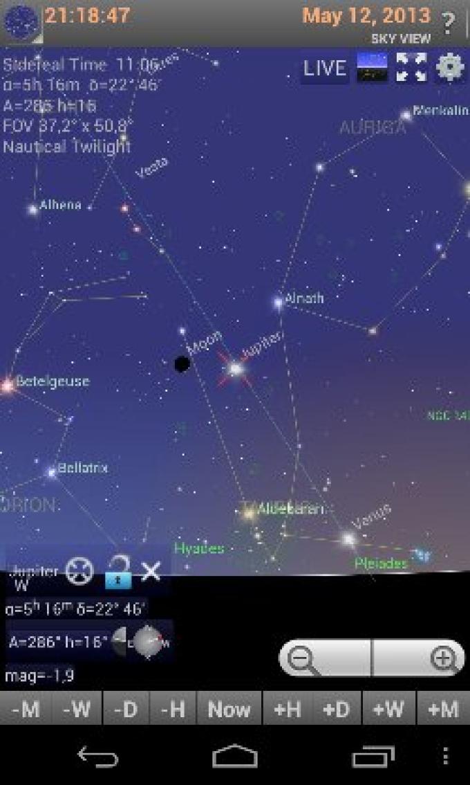 Lua e Júpiter em conjunção